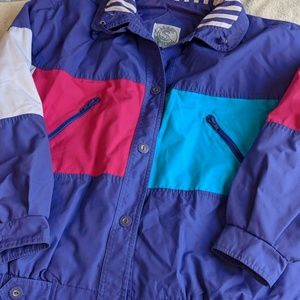 Vintage Colorblock Purple Blue and Pink Jacket